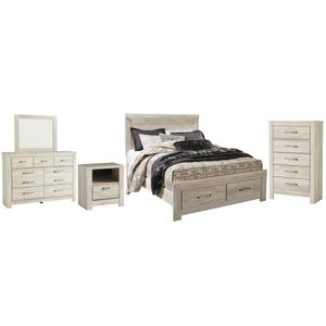 Queen Platform Bed With 2 Storage Drawers With Mirrored Dresser, Chest and Nightstand
