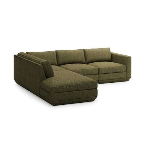 Podium 4PC Lounge Sectional A New Hanson Navy / Left Facing