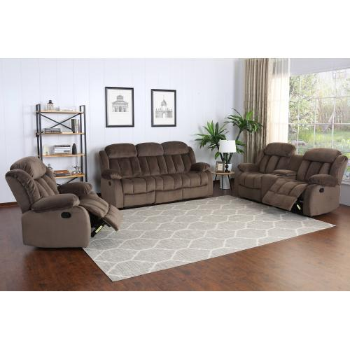 Sunset Trading - Reclining Loveseat w/Console - Chocolate (Teddy Bear Collection)