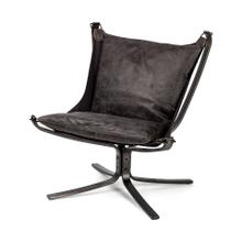 Colarado Black Leather Suspended Seat w Iron Frame Accent Chair