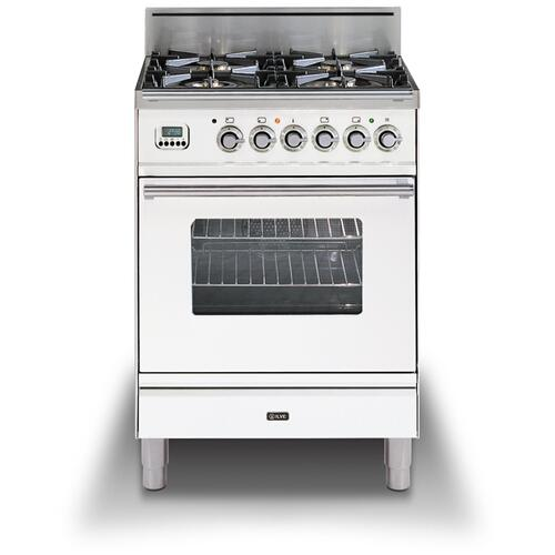 """Ilve - 24"""" Professional Plus Series Freestanding Single Oven Gas Range with 4 Sealed Burners in True White"""