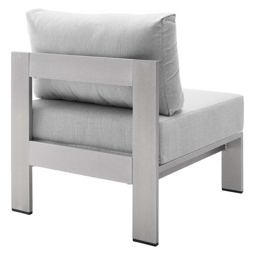 Shore Sunbrella® Fabric Aluminum Outdoor Patio Armless Chair in Silver Gray