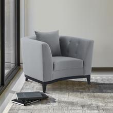 See Details - Melange Gray Velvet Accent Chair with Black Wood Base