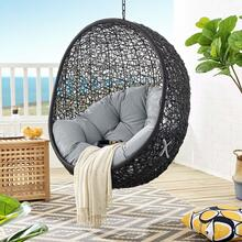 Encase Swing Outdoor Patio Lounge Chair Without Stand in Black Gray