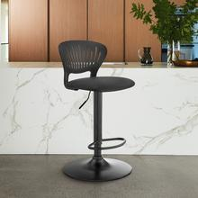 Padua Adjustable Black Upholstery Swivel Stool