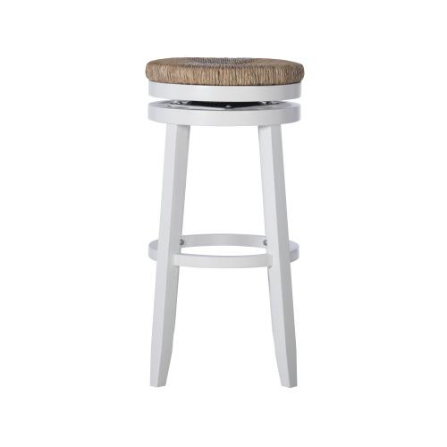 Natural Seagrass Swivel Seat Barstool, White