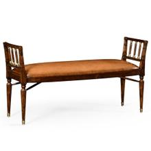 Mahogany Window bench with leather upholstery