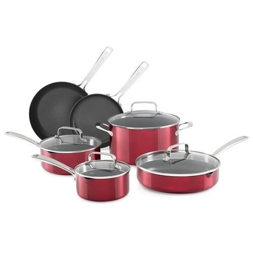 Battery Anodized Nonstick Aluminum Cookware - 10 pcs - Grenadine KitchenAid®