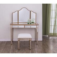 Vanity Table 42 in. x 18 in. x 31 in. and Mirror 39 in. x 24 in. and Chair 18 in. x 14 in. x 18 in.