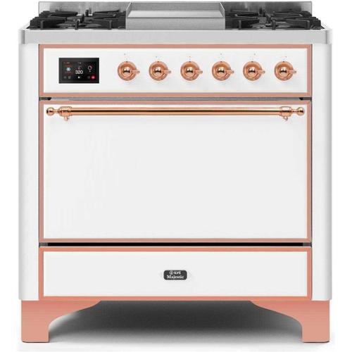 Ilve - Majestic II 36 Inch Dual Fuel Natural Gas Freestanding Range in White with Copper Trim