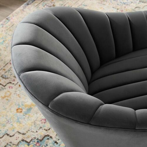 Modway - Buoyant Vertical Channel Tufted Accent Lounge Performance Velvet Swivel Chair in Gray