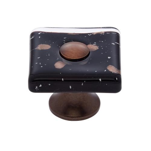 Old World Bronze 35 mm Black Flat Square Knob