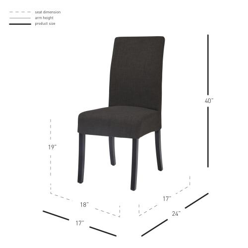 Valencia Fabric Dining Side Chair, Charcoal
