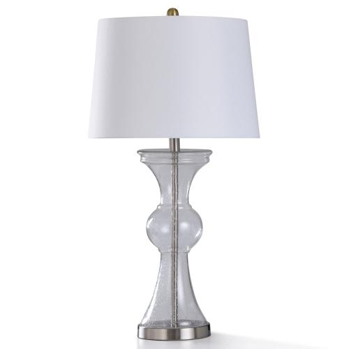 CLEAR SEEDED TABLE LAMP  16in w. X 31in ht.  Transitional Glass Body and Brushed Steel Base Table