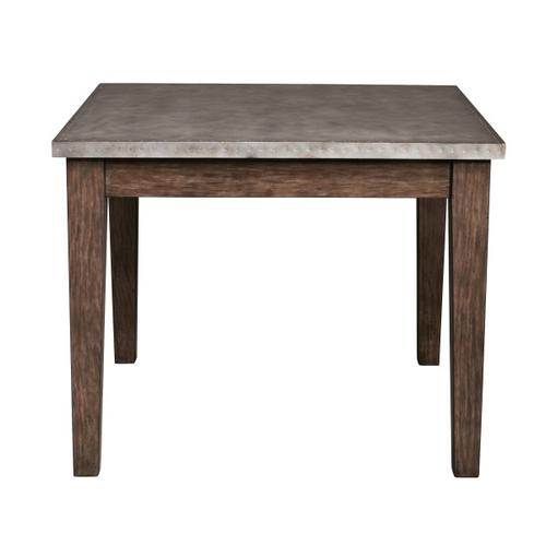 Vintage Industrial Style Metal Wrapped Dining Table in Distressed Chocolate