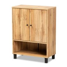 See Details - Baxton Studio Rossin Modern and Contemporary Oak Brown Finished Wood 2-Door Entryway Shoe Storage Cabinet with Bottom Shelf