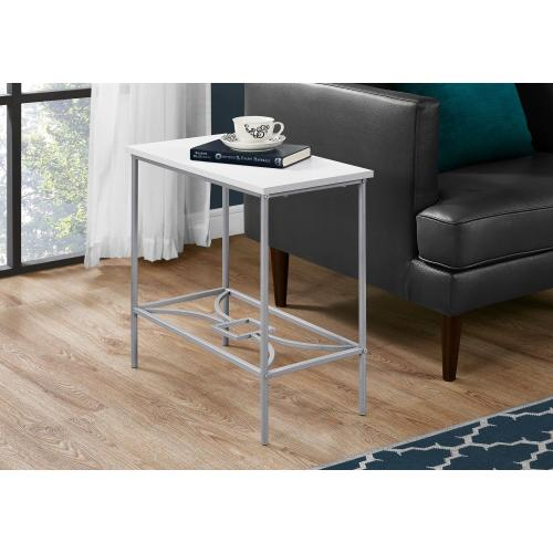 "ACCENT TABLE - 22""H / WHITE / SILVER METAL"