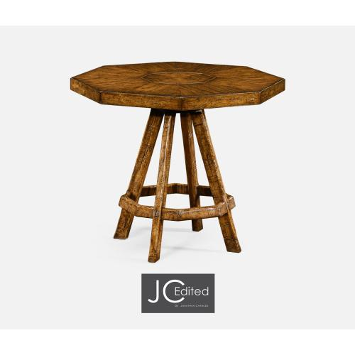 Country Walnut Side Table with Octagonal Top
