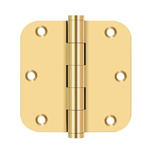 "3 1/2""x 3 1/2""x 5/8"" Radius Hinges - PVD Polished Brass Product Image"