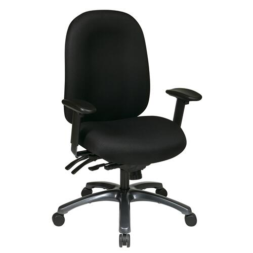 Multi-function High Back Chair With Seat Slider and Titanium Finish Base