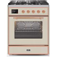 Majestic II 30 Inch Dual Fuel Liquid Propane Freestanding Range in Antique White with Copper Trim