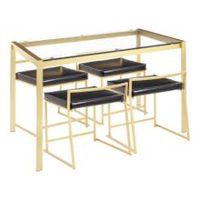 See Details - Fuji Dinette Set - Gold Metal, Clear Glass, Black Pu