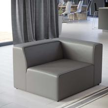 Mingle Vegan Leather Right-Arm Chair in Gray
