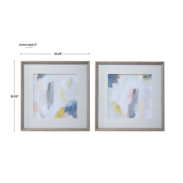 Uttermost - Fractal Pastel Framed Prints, S/2