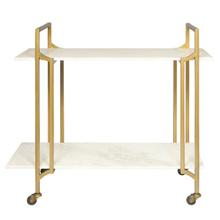 Marble Shelf Rolling Bar Cart in Matte Gold - Top Only
