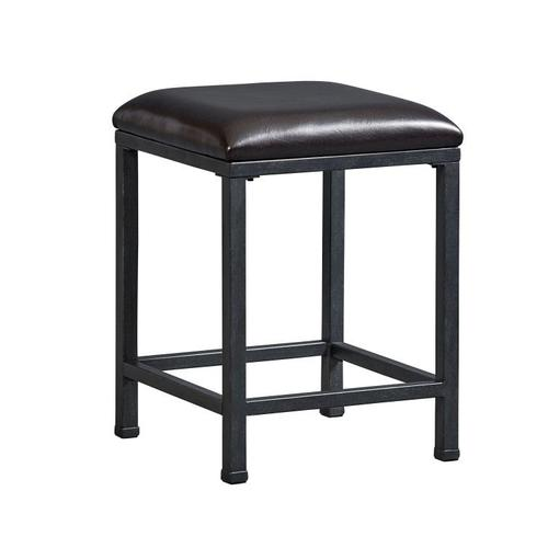 Gallery - Ridgewood 2-Pack Metal Stools with Upholstered Seat, Brown