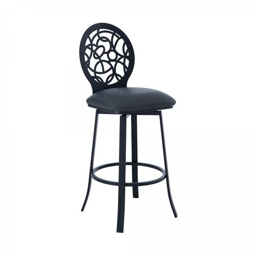 """Lotus Contemporary 26"""" Counter Height Barstool in Matte Black Finish and Grey Faux Leather"""