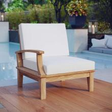 See Details - Marina Outdoor Patio Teak Left-Facing Sofa in Natural White