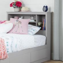 Vito - Bookcase Headboard, Soft Gray, Twin
