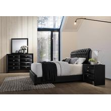 Blemerey 110 Black Wood bonded leather Bed Group KING AND QUEEN Bed Dresser Mirror Night Stand, King