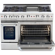 """See Details - 48"""" Gas Self Clean, Rotisserie, 6 Open Burners, 12"""" Thermo-Griddle"""