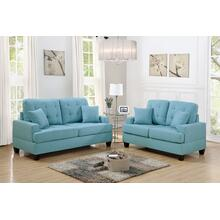 Clara 2pc Loveseat & Sofa Set, Teal-blue