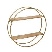 "Metal / Wood 26"" Wall Shelf, Gold"