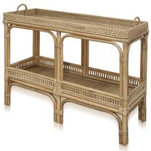 JACE CONSOLE  40in w. X 29in ht. X 15in d.  Natural Rattan Console Table with Lombok Binding  Mad