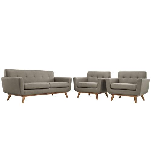 Engage Armchairs and Loveseat Set of 3 in Granite