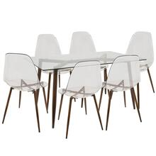 See Details - Clara 7-piece Dining Set - Walnut Metal, Clear