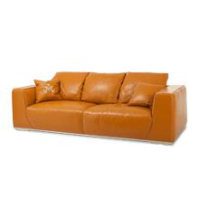 Sophia Leather Mansion Sofa in Tangerine St Steel