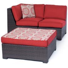 Metropolitan Woven Ottoman and Cushion, Berry - AGF11108F06