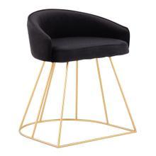 View Product - Canary Upholstered Vanity Stool - Gold Steel, Black Velvet