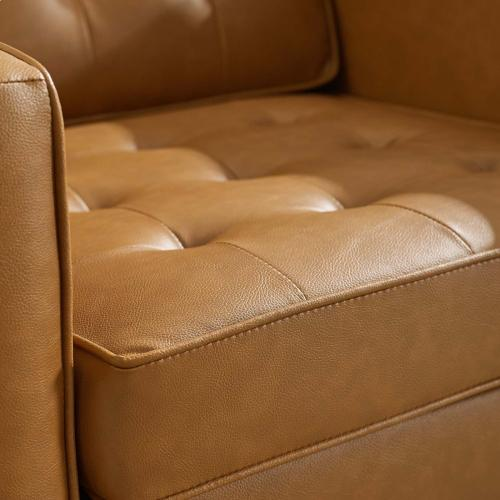 Modway - Loft Tufted Upholstered Faux Leather Armchair in Silver Tan