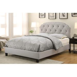 Tufted Upholstered Traditional King Bed in Soft Grey