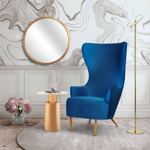 Julia Navy Velvet Wingback Chair by Inspire Me! Home Decor