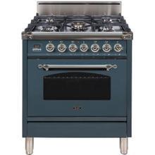 See Details - Nostalgie 30 Inch Gas Liquid Propane Freestanding Range in Blue Grey with Chrome Trim