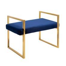 See Details - Navy/gold Velveteen Bench W/ Handles