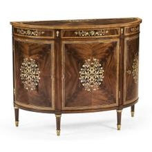 Mahogany & Mother of Pearl Demilune Cabinet