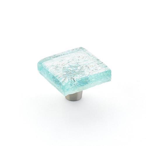 "Ice, Square Knob, Aqua Pearl, 1-1/2"" dia"